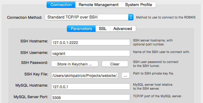 Vagrant SSH key for TCP/IP over SSH connection